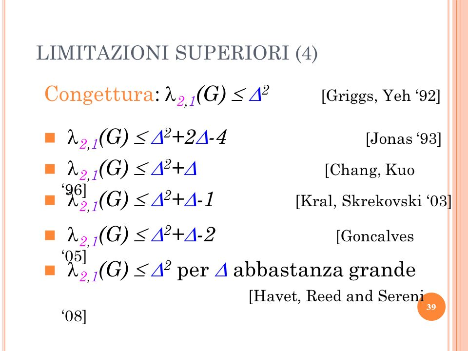 Congettura: 2,1(G)  2 [Griggs, Yeh '92]